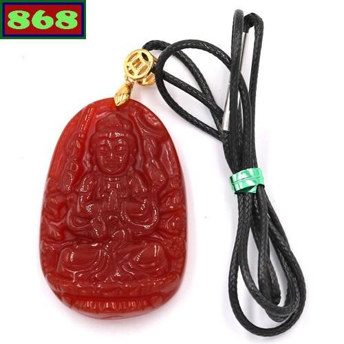 Vòng cổ Phật Thiên Thủ Thiên Nhãn thạc anh đỏ 5 cm
