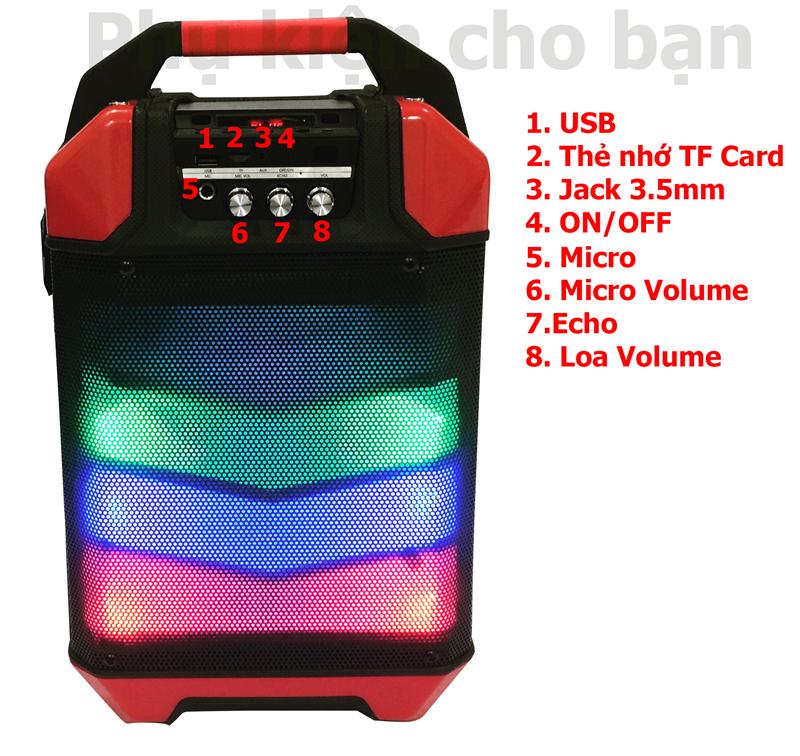 Loa Kéo bluetooth chính hãng siêu bass PKCB 60 đèn LED Cao cấp 4