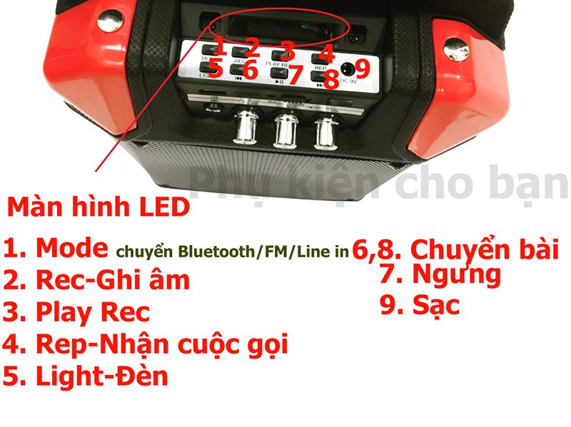 Loa Kéo bluetooth chính hãng siêu bass PKCB 60 đèn LED Cao cấp 3