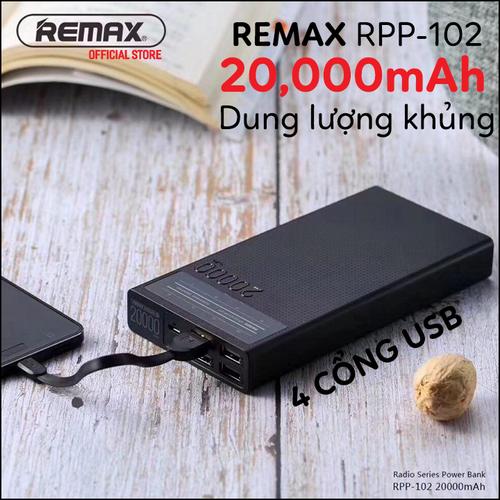 Pin sạc dự phòng Remax Radio RPP-102 20000mAh 4 cổng USB siêu tiện lợi - 4508946 , 12272305 , 15_12272305 , 440000 , Pin-sac-du-phong-Remax-Radio-RPP-102-20000mAh-4-cong-USB-sieu-tien-loi-15_12272305 , sendo.vn , Pin sạc dự phòng Remax Radio RPP-102 20000mAh 4 cổng USB siêu tiện lợi