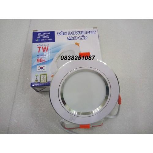 Đèn led âm trần HG 7w 3 màu viền bạc