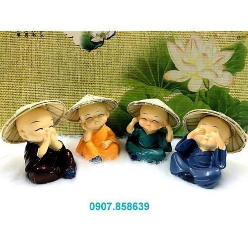 Full set bộ 4 tượng chú tiểu đội nón lá tuyệt đẹp,Hàng Độc Quyền