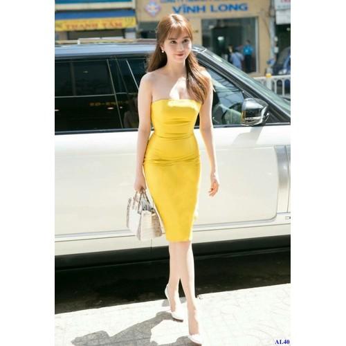 Đầm Ôm Body Vàng Cúp Ngực Tôn Dáng
