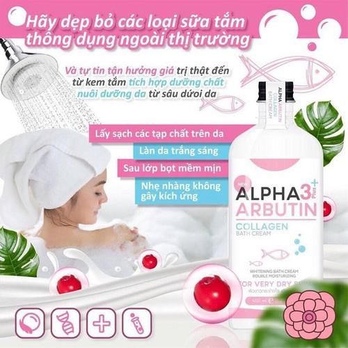 Sữa Tắm Trắng Da Alpha Arbutin 3+ Plus Collagen Bath Cream 450ml - STDT01