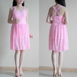 Jumsuit Ren Giả Váy Màu Hồng