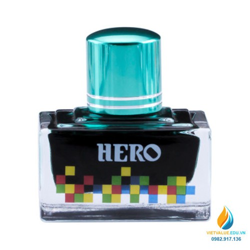 Mực Hero thường cho bút máy, 40ml, màu xanh nhạt mã 7107