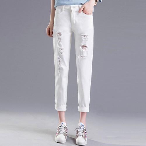 Quần jean rách mầu trắng