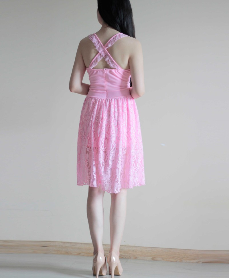 Jumsuit Ren Giả Váy Màu Hồng 3