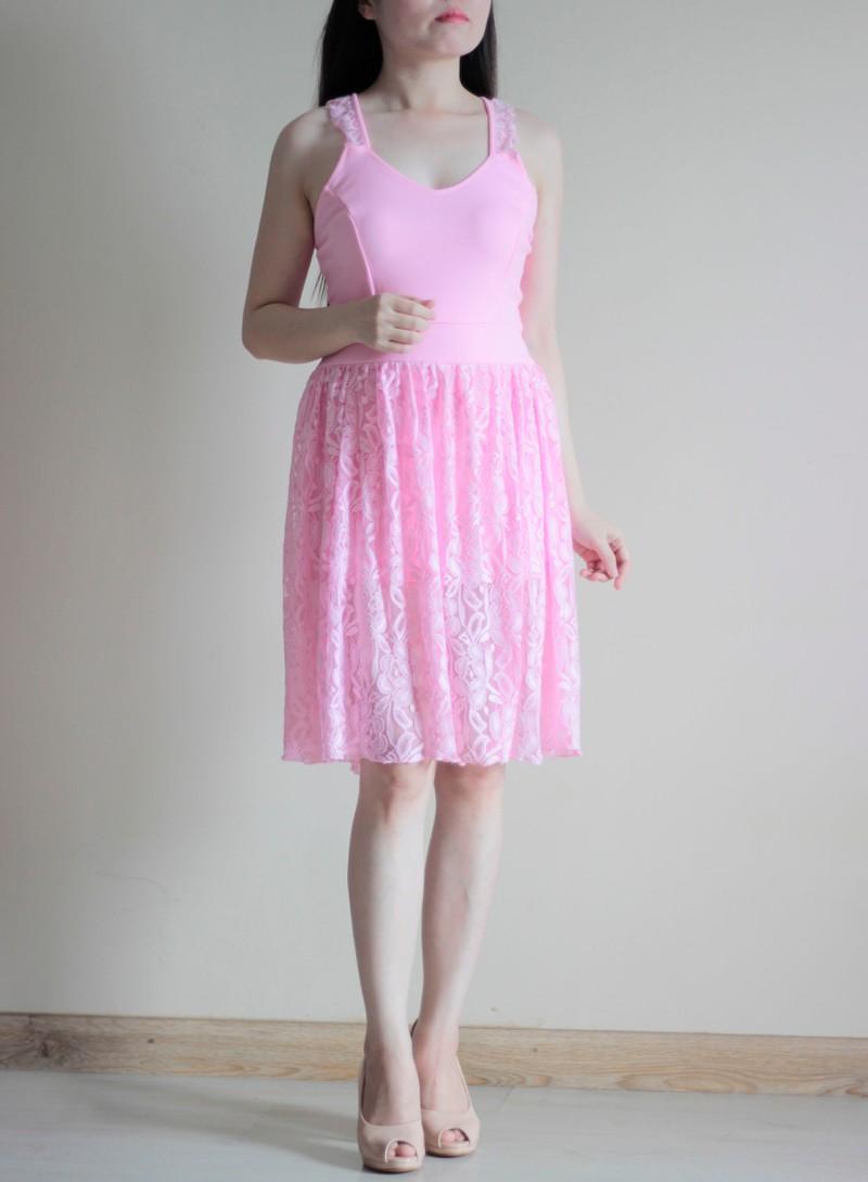 Jumsuit Ren Giả Váy Màu Hồng 1