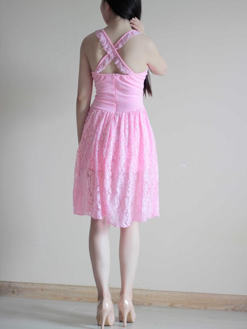 Jumsuit Ren Giả Váy Màu Hồng 2
