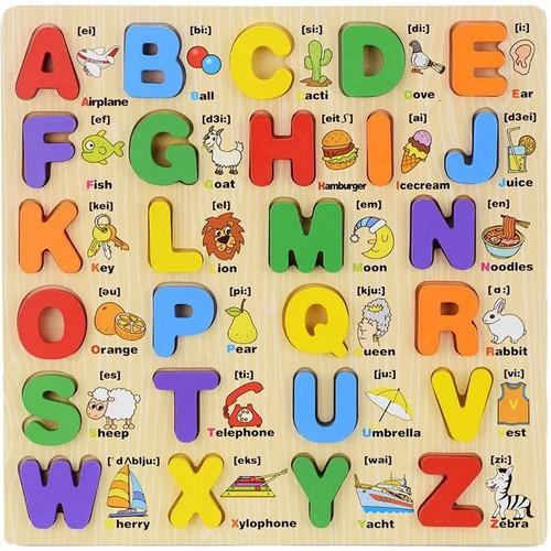 Bảng học chữ cái in hoa song ngữ bằng gỗ giúp bé học tiếng anh