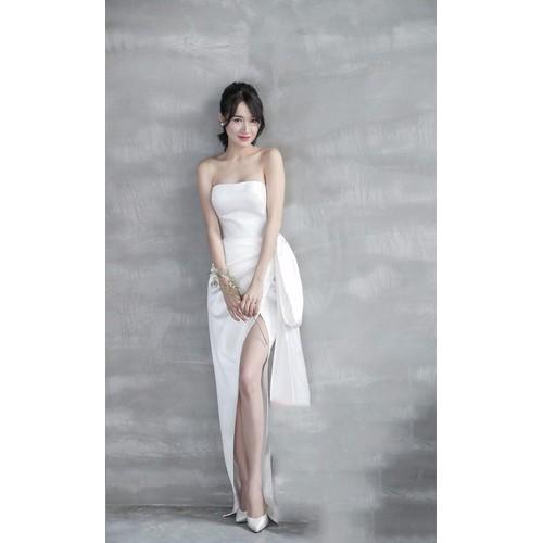 Đầm dạ hội kiểu cúp ngực nơ chéo tà