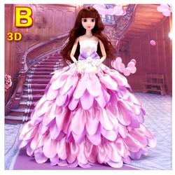 Búp Bê Công Chúa Váy Cánh Hoa Tặng Phụ Kiện 08 Món + 3 Váy Ngắn