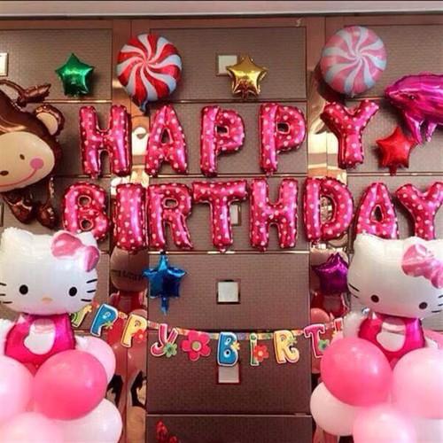 Set bóng sinh nhật hello kitty tặng kèm phụ kiện bơm, băng keo