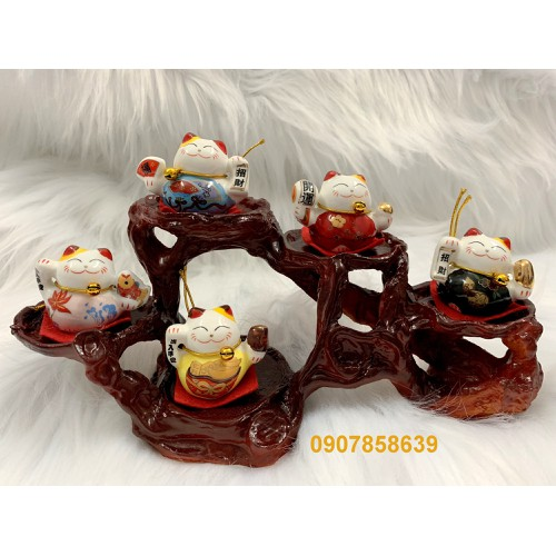 Bộ 5 tượng mèo Thần Tài Maneki Neko + Đế tượng 5 chân_như hình