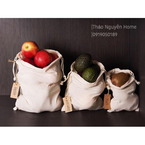 Túi vải hữu cơ đựng rau củ quả bộ 3 túi
