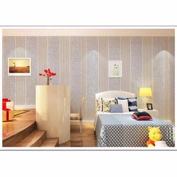 Giấy dán tường sọc bạc vàng 1 cuộn dài 10m rộng 45cm đã có keo sẵn