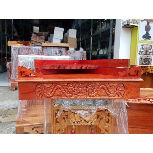 Bàn thờ treo tường gỗ xoan trạm rồng ngang 60 cm