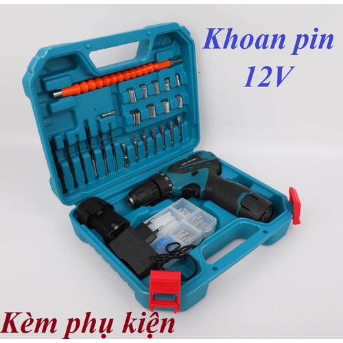 Máy khoan pin 12V kèm phụ kiện