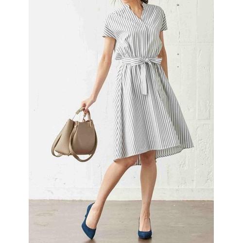Đầm cổ trụ sọc thời trang -DV0053