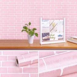 Giấy dán tường giả gạch hồng 1 cuộn dài 10m rộng 45cm đã có keo sẵn