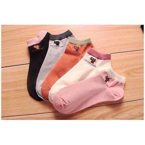 Combo 4 lố Tất mèo cotton,4 hộp kẹp tóc 18 món màu hồng và 4 khăn thắt nơ màu kem trắng