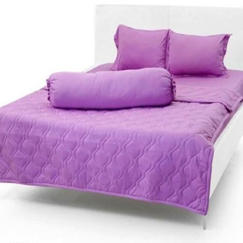 Bộ chăn ga gối thun 1 màu tím nhạt
