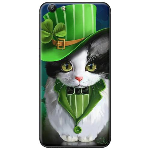 Ốp lưng nhựa dẻo Vivo V5 PLus Mèo nón xanh