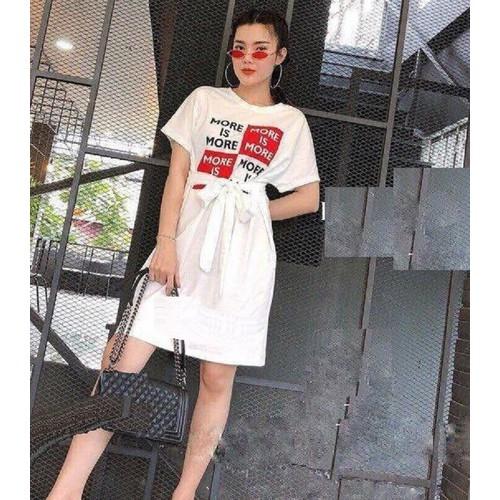 Đầm Suông In Chữ Thắt Eo 30MA07 - Hàng Cao Cấp