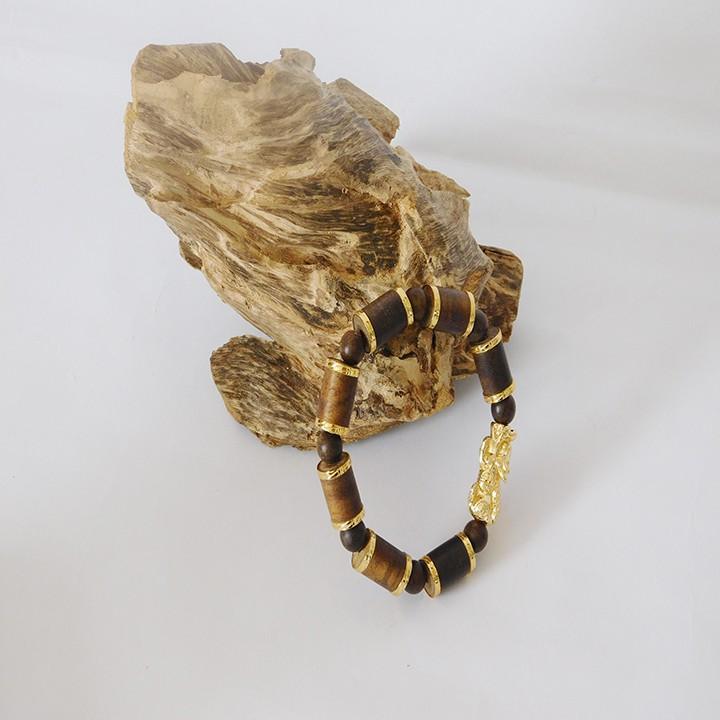 Vòng tay trầm hương bọc vàng mix tỳ hưu 1