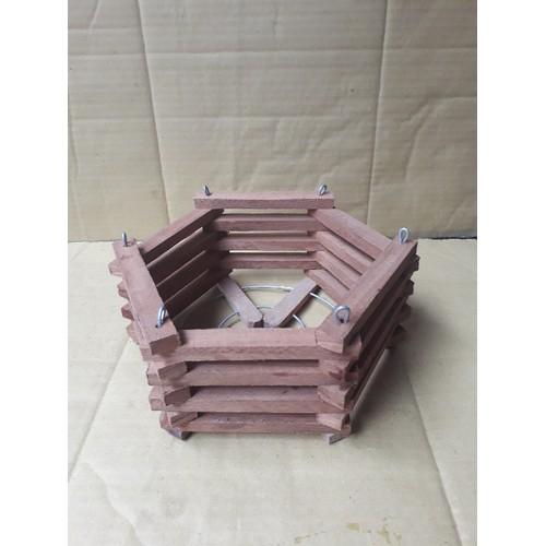 Chậu gỗ lục giác trồng lan size 22
