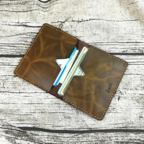 Bóp ví đựng thẻ ATM, giấy tờ, namecard da bò handmade Zachi MN1