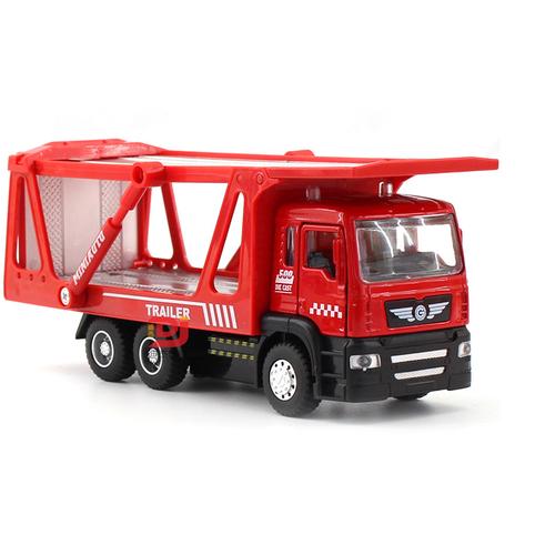 Xe ô tô chở hàng 2 tầng đồ chơi trẻ em có đèn và âm thanh động cơ xe chạy cót