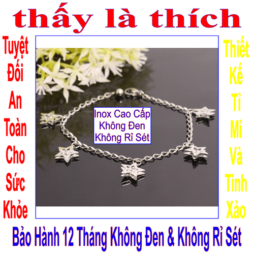 Lắc tay inox nữ Thấy Là Thích dây khía kiểu 5 ngôi sao đính đá