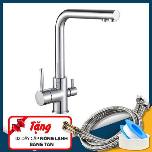 Vòi rửa bát nóng lạnh 3 đường nước 6017 Tặng 02 dây cấp và băng tan
