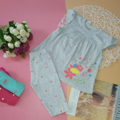 bộ quần áo trẻ em - borip bé gái tay dúng bèo - Màu xám