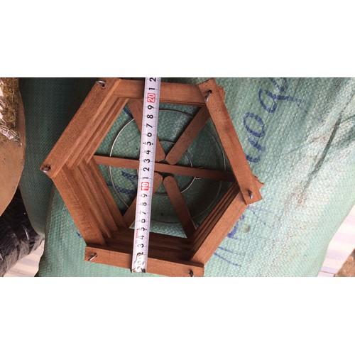 Chậu gỗ trồng lan lục giác size 22cm