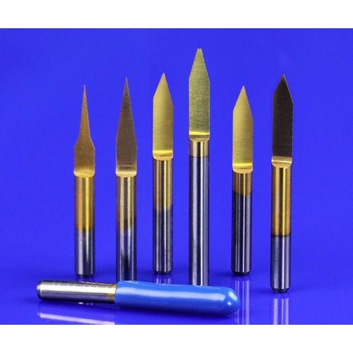 Bộ 10 Mũi dao khắc chữ V CNC, 1 lưỡi thân 3.175x20 độ x0.1mm, phủ Ti