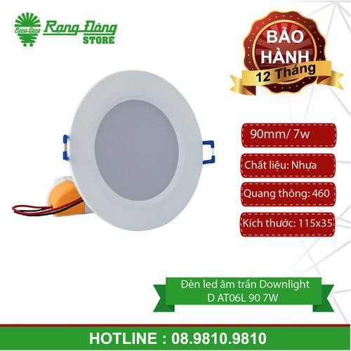 Đèn led âm trần downlight D AT06L 90 7W