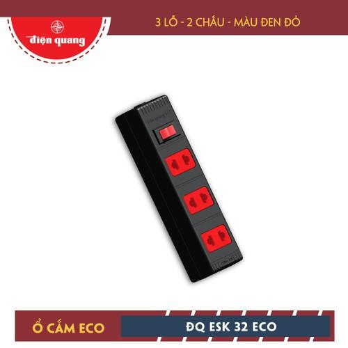 Ổ cắm Điện Quang ECO ĐQ ESK 5BR 32 ECO - 3 lỗ 2 chấu, dây 5m, đen đỏ