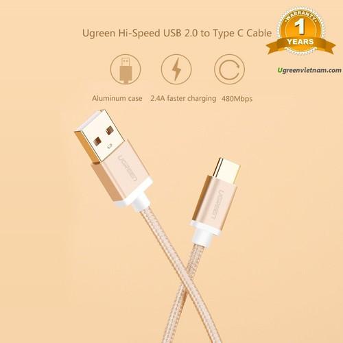 Cáp USB-C to USB 2.0 dài 0,5m màu Gold chính hãng Ugreen 20859 cao cấp