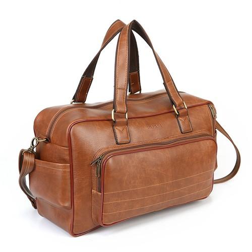 Túi du lịch cao cấp hanama n9 lót lông, nhiều ngăn tiện dụng vàng