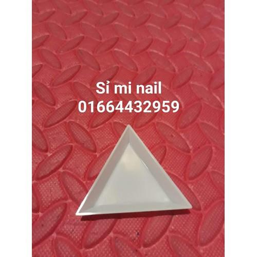 Khay tam giác nhựa đựng đá phụ kiện trang trí móng tiện lợi gọn gàng