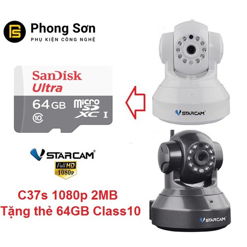Camera wifi IP Vstarcam C37s Full HD 1080P, Tặng thẻ 64GB - 5865780 , 12371518 , 15_12371518 , 1200000 , Camera-wifi-IP-Vstarcam-C37s-Full-HD-1080P-Tang-the-64GB-15_12371518 , sendo.vn , Camera wifi IP Vstarcam C37s Full HD 1080P, Tặng thẻ 64GB