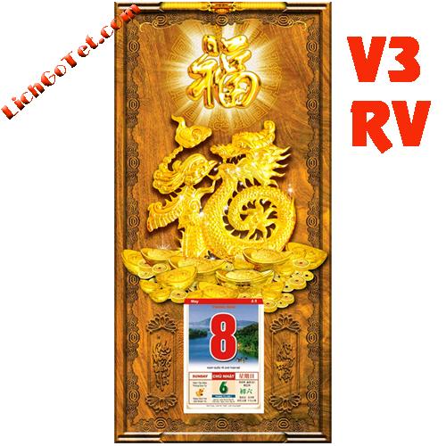 TRANH LỊCH GỖ PHONG THỦY KIM PHƯỚC V3