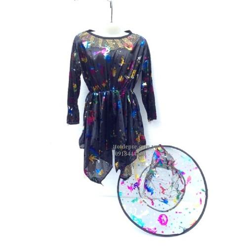 Váy kèm mũ phù thủy hóa trang Halloween size trẻ em