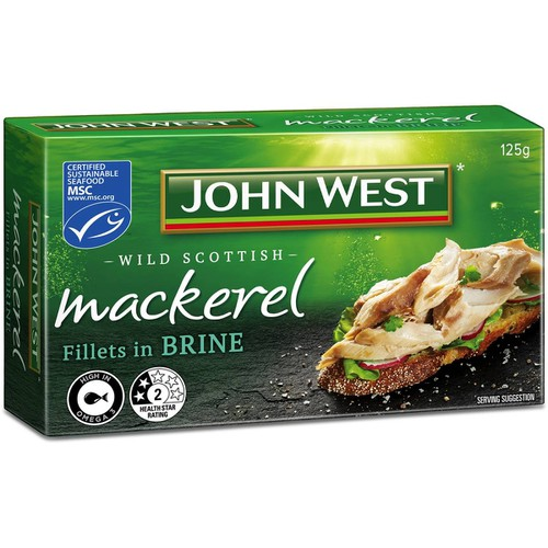 JOHN WEST MACKEREL FILLETS IN BRINE 125g