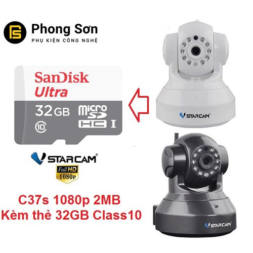 Camera wifi IP Vstarcam C37s Full HD 1080P, Tặng thẻ 32GB - 5865723 , 12371440 , 15_12371440 , 1200000 , Camera-wifi-IP-Vstarcam-C37s-Full-HD-1080P-Tang-the-32GB-15_12371440 , sendo.vn , Camera wifi IP Vstarcam C37s Full HD 1080P, Tặng thẻ 32GB