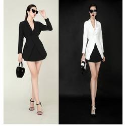Áo váy kiểu áo vest tay dài váy ngắn