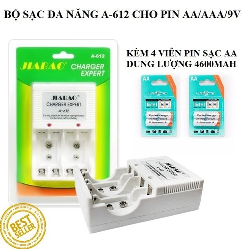 Bộ Sạc Pin Đa Năng Jiabao A612 Cho Pin AA-AAA-9V Kèm 4 Viên Pin Sạc AA - 5888800 , 12397977 , 15_12397977 , 303000 , Bo-Sac-Pin-Da-Nang-Jiabao-A612-Cho-Pin-AA-AAA-9V-Kem-4-Vien-Pin-Sac-AA-15_12397977 , sendo.vn , Bộ Sạc Pin Đa Năng Jiabao A612 Cho Pin AA-AAA-9V Kèm 4 Viên Pin Sạc AA